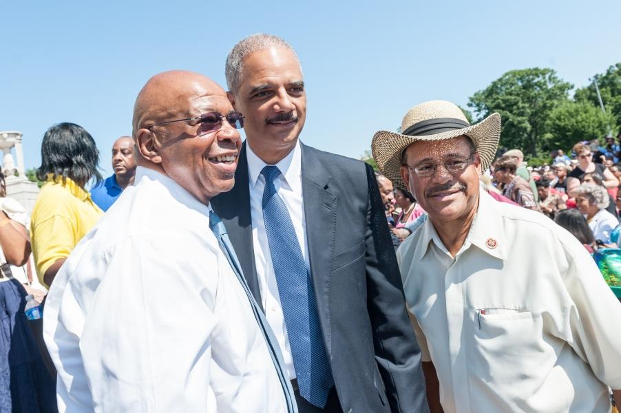 Attorney General with Congressmen Elijah Cummings and Sanford Bishop, Jr.