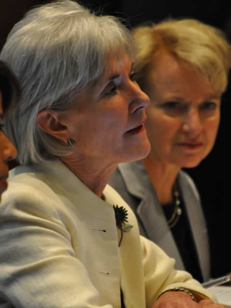 Department of Health and Human Services Secretary, Kathleen Sebelius, sits alongside Assistant Attorney General for the Office of Justice Programs Laurie O. Robinson