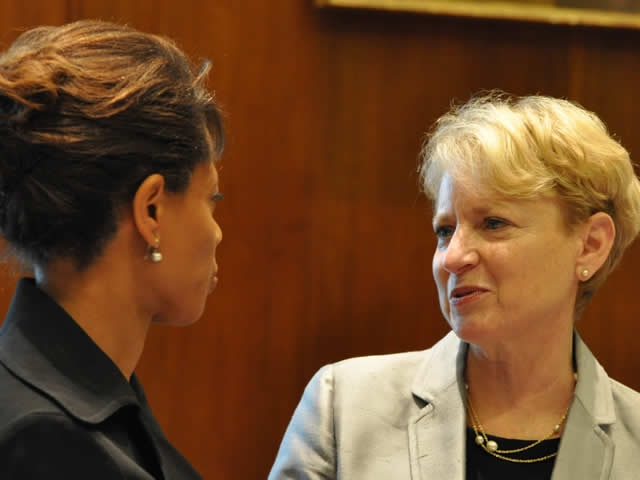 Laurie O. Robinson, Assistant Attorney General in the Office of Justice Programs speaks with Melody Barnes, Director of the White House Domestic Policy Council.