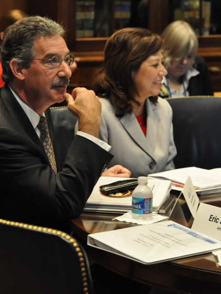 Deputy Attorney General James Cole and Secretary of Labor, Hilda Solis, during the meeting.