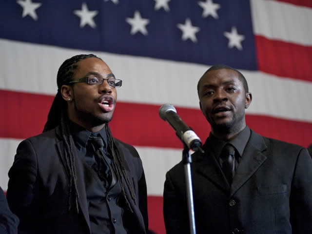 Two Gentlemen Sing at the OVC Candlelight Ceremony Program