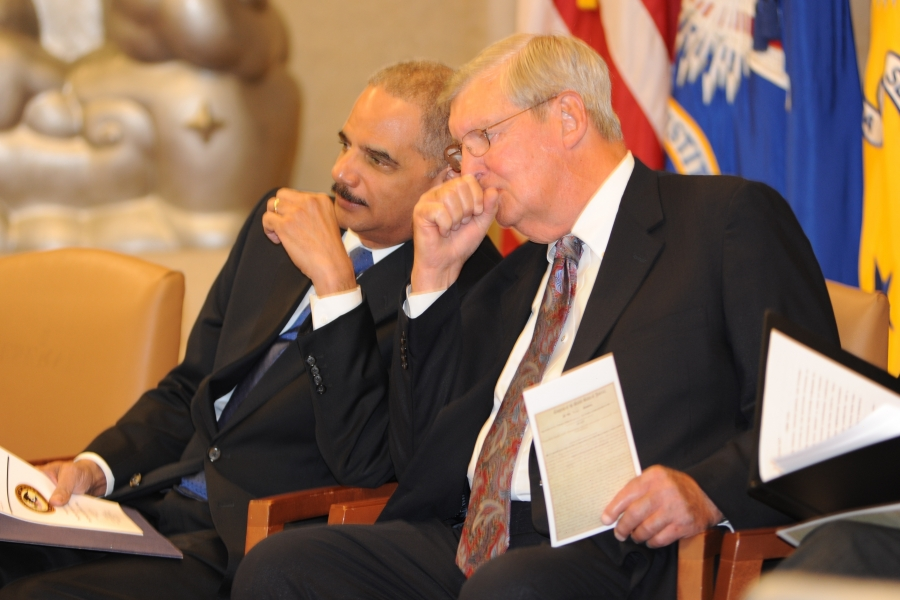 Attorney General Eric Holder and 2012 Sherman Award recipient James F. Rill at the Sherman Award Ceremony.