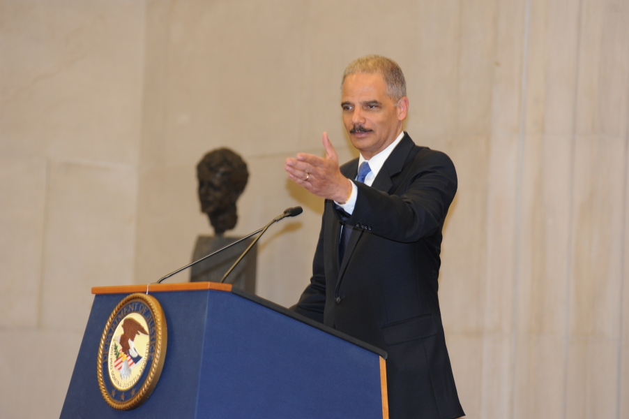 Attorney General Eric Holder discusses the many accomplishments of 2012 Sherman Award recipient James F. Rill.