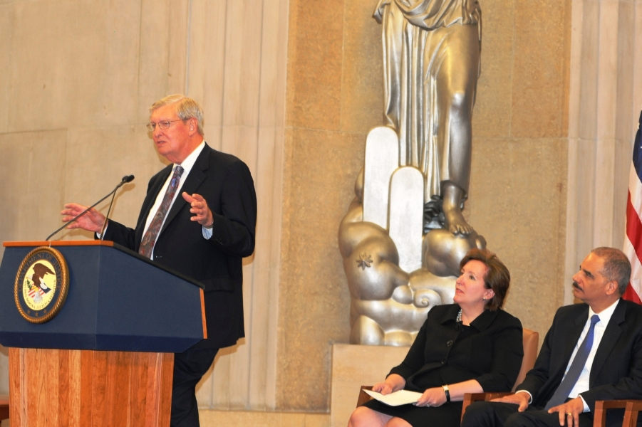 2012 Sherman Award recipient James F. Rill gives remarks after receiving the award from Attorney General Eric Holder.