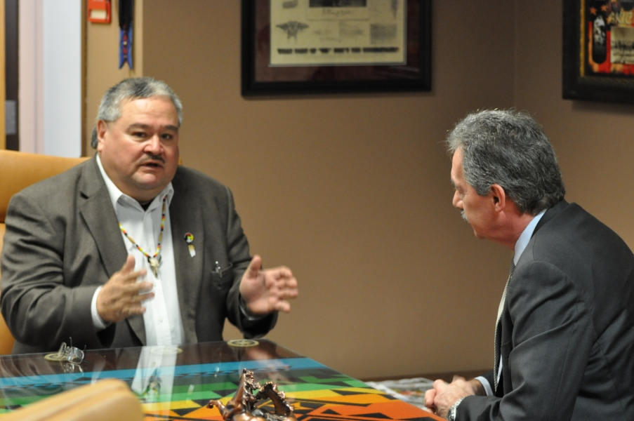 Deputy Attorney General Cole and Standing Rock Sioux Tribe Vice-Chairman Mike Faith.