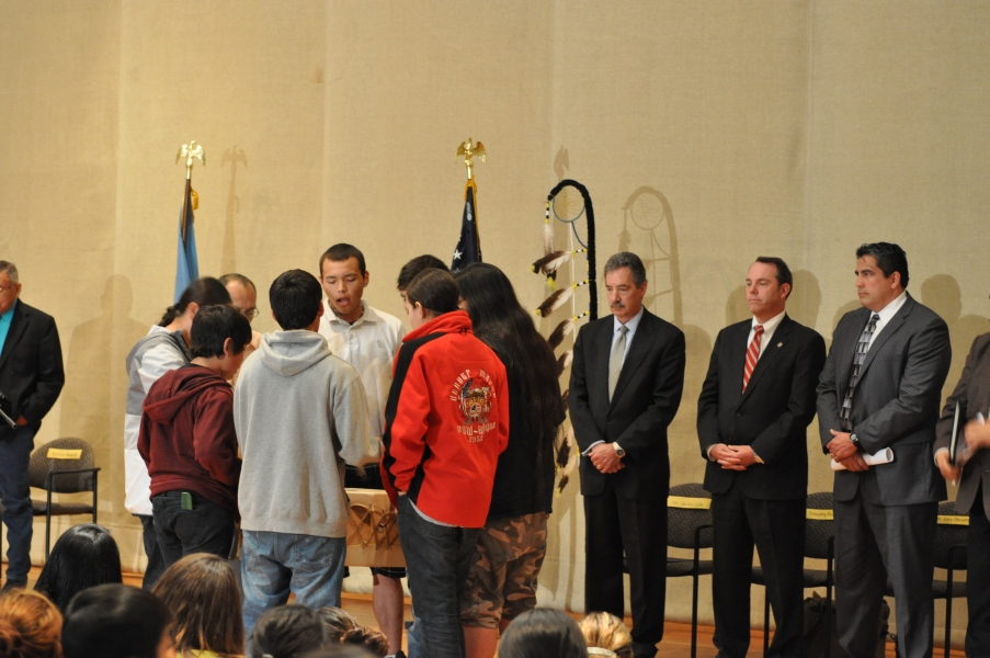 Standing Rock High School Drum Group performs 'Honoring Song'