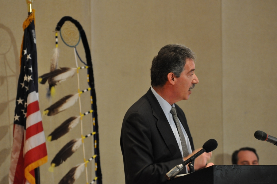Deputy Attorney General Cole speaks to Standing Rock High School students and faculty.