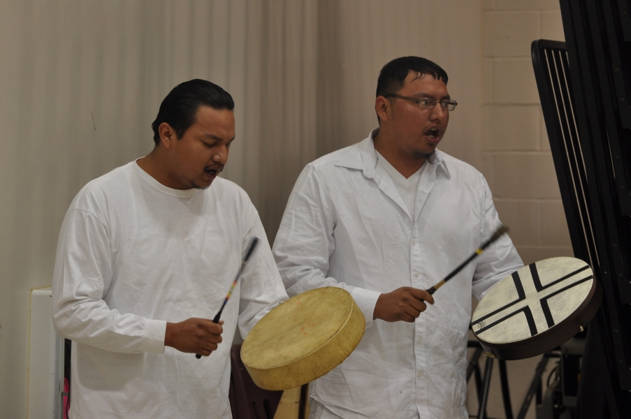 Drummers perform at the opening of the 2nd Annual U.S. Attorney's Tribal Consultation Conference on Thursday, April 26, 2012.