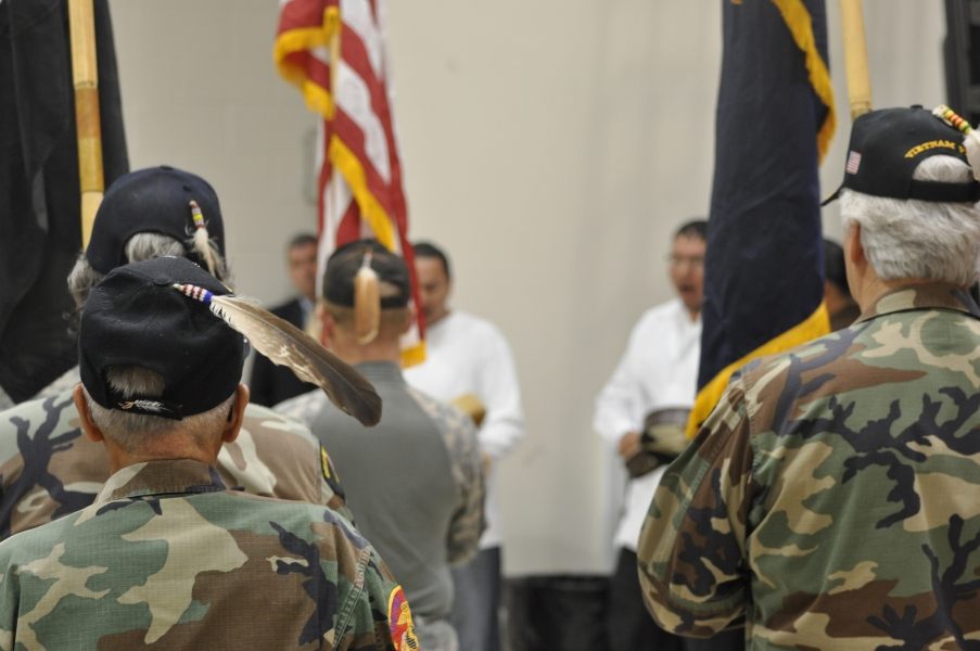 The United Tribes Technical College Honor Guard  opens the 2nd Annual U.S. Attorney's Tribal Consultation Conference.