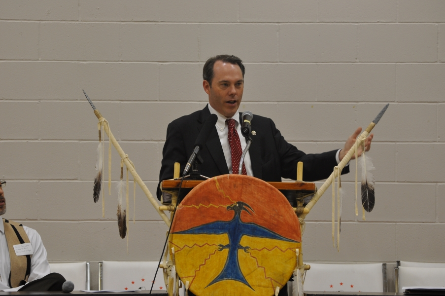 U.S. Attorney Tim Purdon speaks about 'One Year in Indian Country' at the Tribal Consultation Conference in Bismarck, N.D.