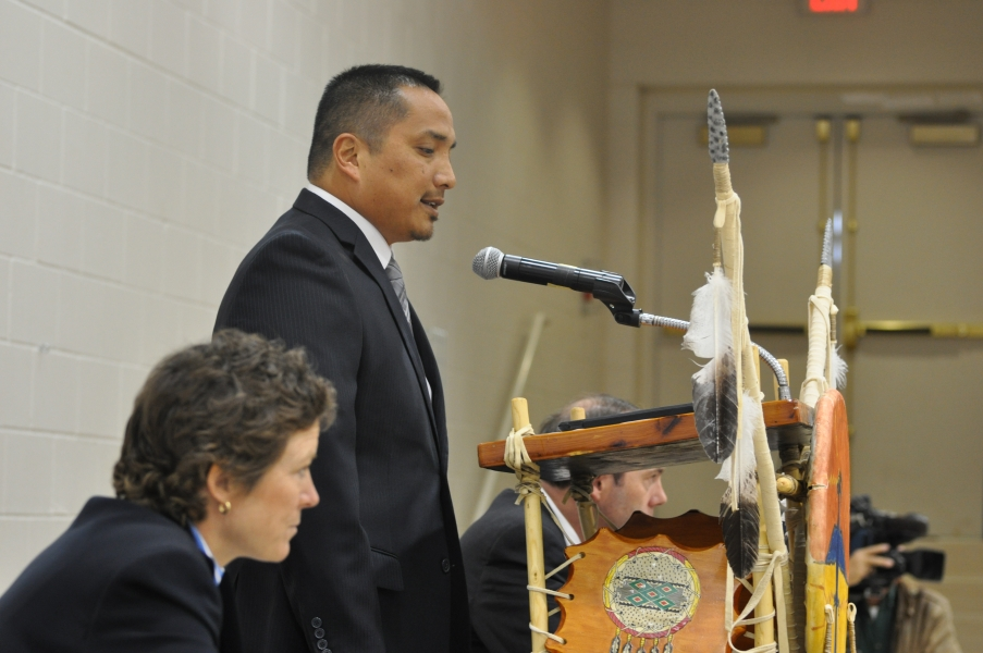 Bureau of Indian Affairs Special Agent in Charge Mario Red Legs speaks.