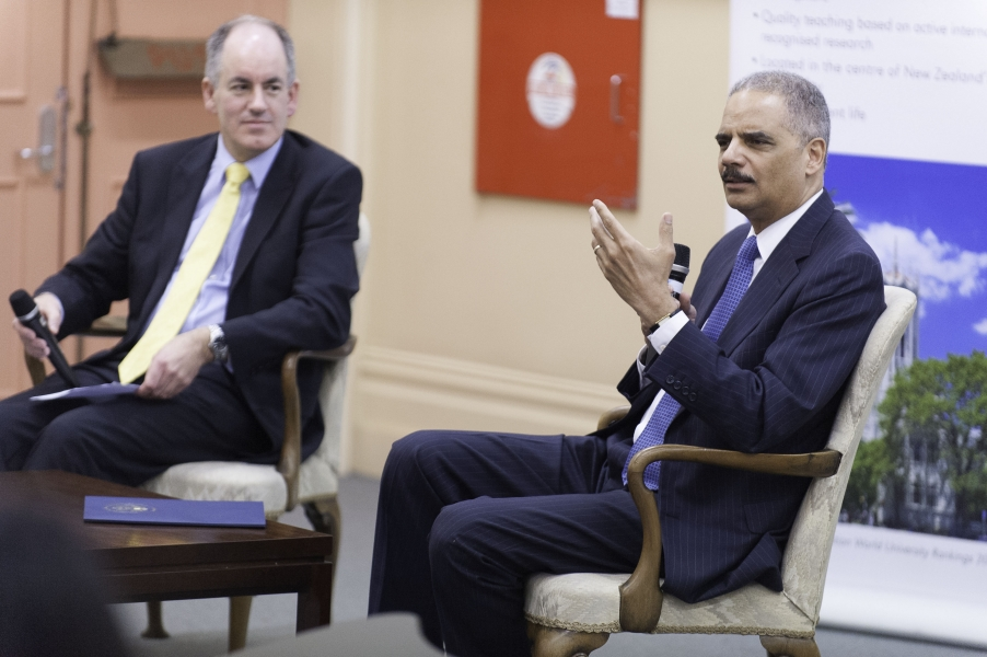 Attorney General Holder takes questions from University of Auckland School of Law students.