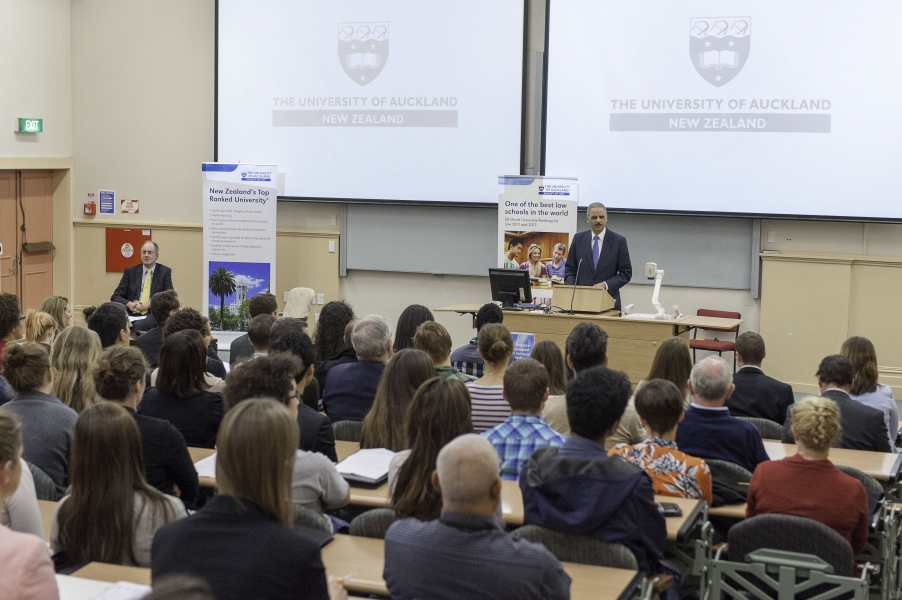 Attorney General Holder delivers the keynote address at the University of Auckland School of Law