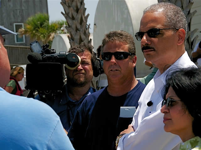 Attorney General Eric Holder and Assistant Attorney General Ignacia Moreno of the Department's Environment and Natural Resources Division, listen to citizens who make their living on the water and adversely affected by the BP oil spill.