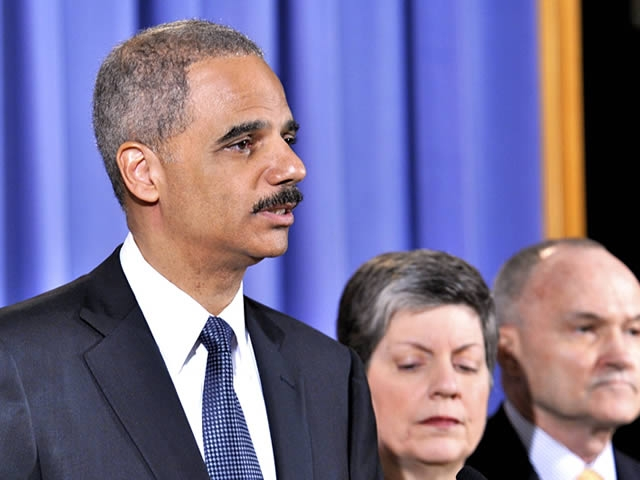 Attorney General Eric Holder, along with Homeland Security Secretary Janet Napolitano and New York Police Commissioner Raymond Kelly, speaks at the press conference regarding the attempted bombing in New York City's Times Square.