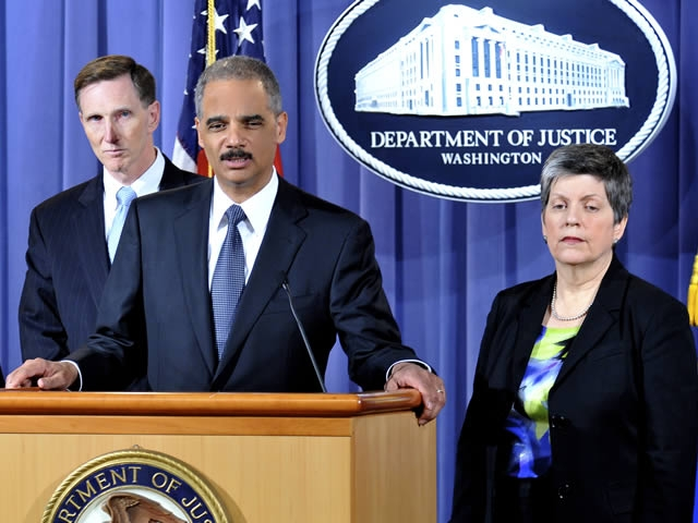 Attorney General Holder answers a question during the news conference on the car bombing attempt in New York City's Times Square.