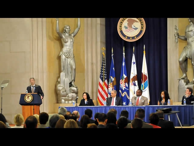 Administrator Michele M. Leonhart of the Drug Enforcement Administration moderates the drug endangered children panel.