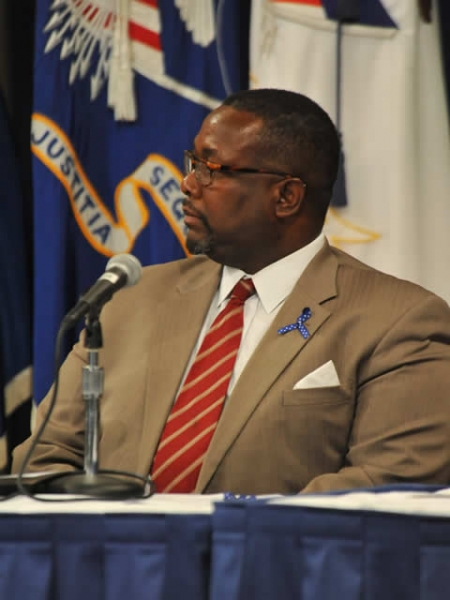 """Wendell Pierce (""""Bunk"""") joins with other members on the panel to emphasize the importance of making resources available to assist vulnerable children."""