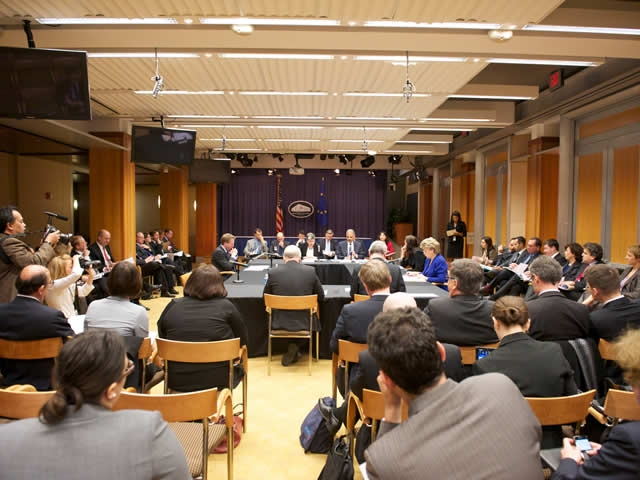 Attorney General Holder participated in a U.S.- E.U. Justice and Home Affairs Ministerial Meeting to discuss cooperative efforts against terrorism,  transnational crime and cybercrome, while protecting privacy and other individual rights.