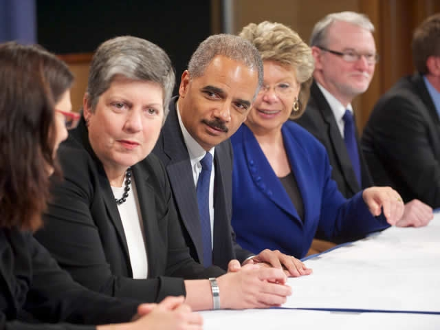 Attorney General Holder was joined by Department of Homeland Security Secretary Janet Napolitano and European Union Justice representatives before the meeting commenced.