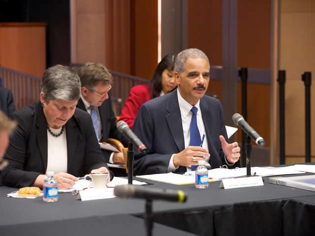 Attorney General Holder speaks during the meeting.