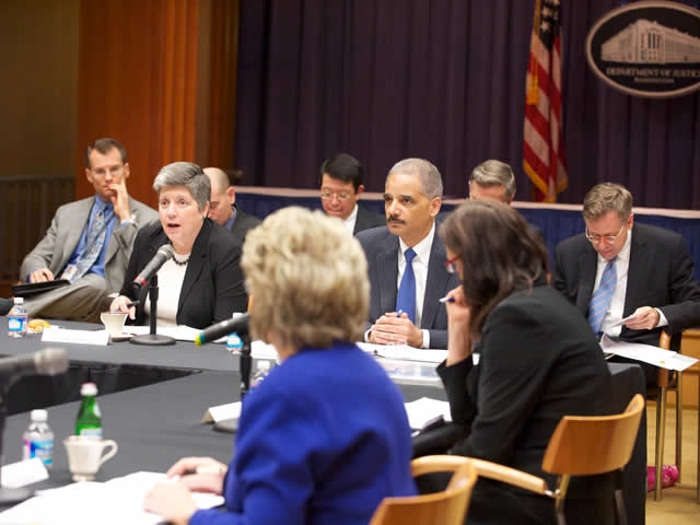 Department of Homeland Security Secretary Janet Napolitano speaks during the meeting.