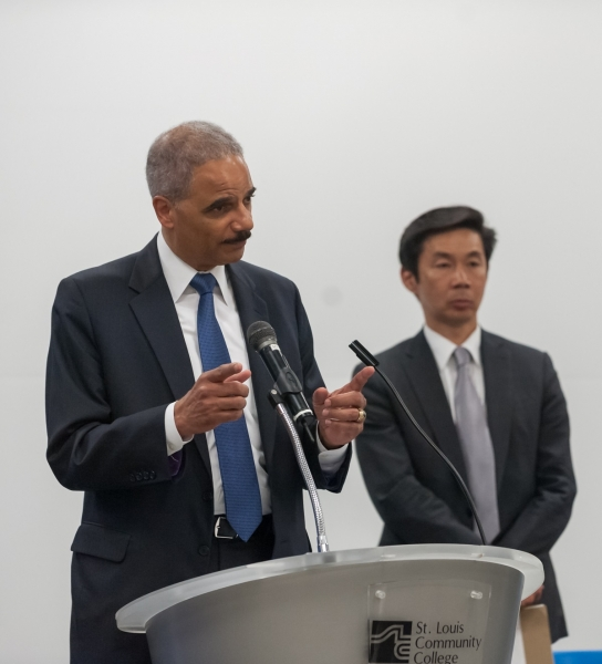 Attorney General Eric Holder speaks at a meeting with community leaders organized by the Community Relations Service.