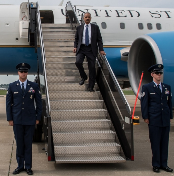 Attorney General arrives in St. Louis before making his way to Ferguson.