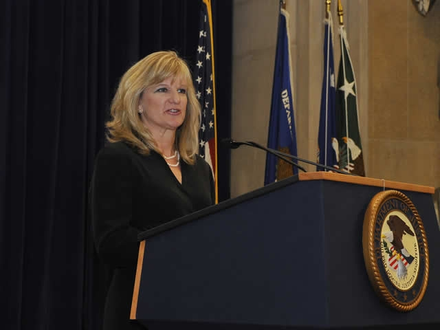 Melanie Pustay, Director of the Office of Information Policy, Department of Justice addressing the audience.