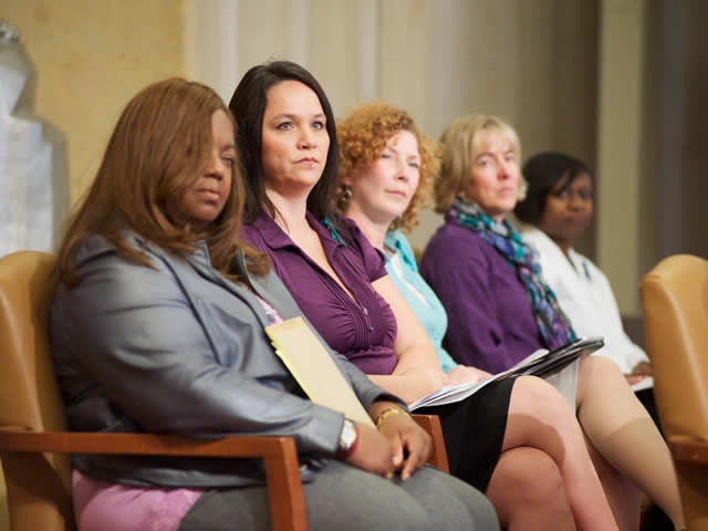 Key crusaders in the battle against domestic violence shared the dais.