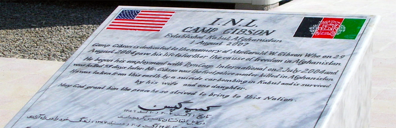 August 29, 2004. Kabul- Memorial for a U.S. citizen killed from a car bomb in Kabul, Afghanistan.