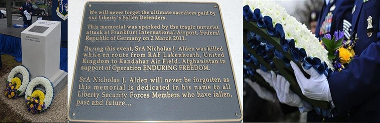 March 2, 2011. Lakenheath - Memorial for a Senior Airman killed in the shooting of a U.S. Air Force bus at the Frankfurt Airport