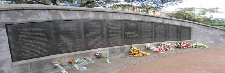 August 7, 1998. Nairobi - Memorial for the victims of the U.S. Embassy Bombing in Nairobi, Kenya.