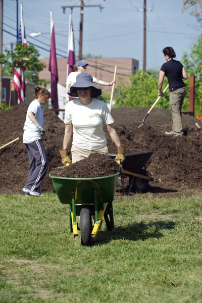 ENRD volunteers have devoted over 5,500 hours of employee time to planting trees, removing trash, laying sod and gardening