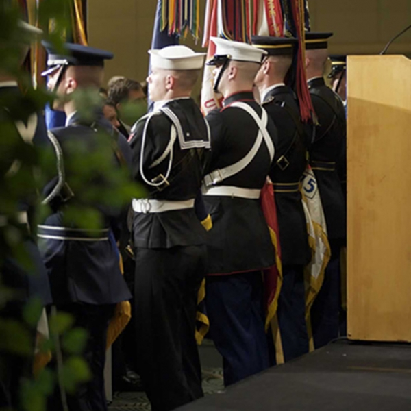 U.S. soldiers present the Color Guard at the start of the ceremony