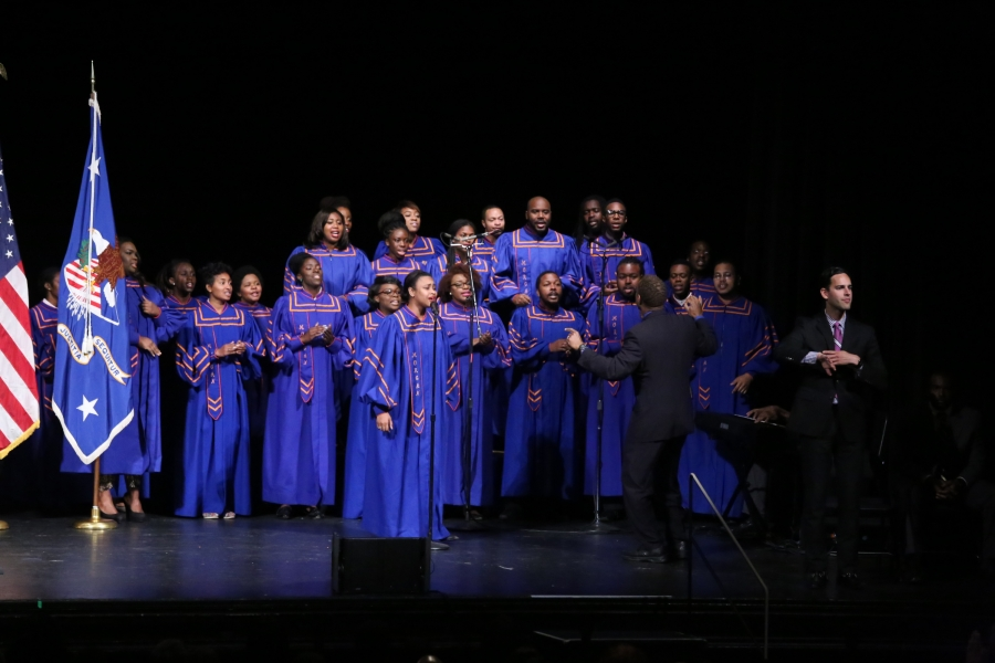 """The Morgan State University Choir sings """"America the Beautiful"""" at Attorney General Lynch's investiture ceremony."""