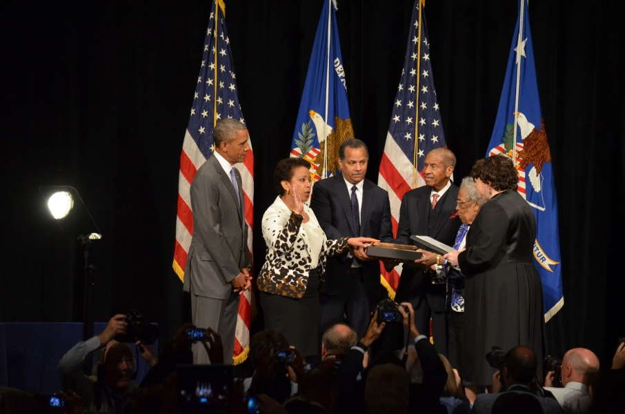 The Supreme Court Justice Sonia M. Sotomayor ceremonially swears in Loretta Lynch as Attorney General