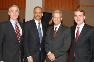 U.S. Attorney John Walsh with Attorney General Eric Holder and U.S. Senators Mark Udall and Michael Bennet
