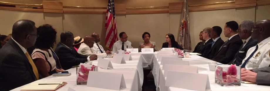 •	Attorney General Lynch holds a community policing round table at the Birmingham Civil Rights Institute