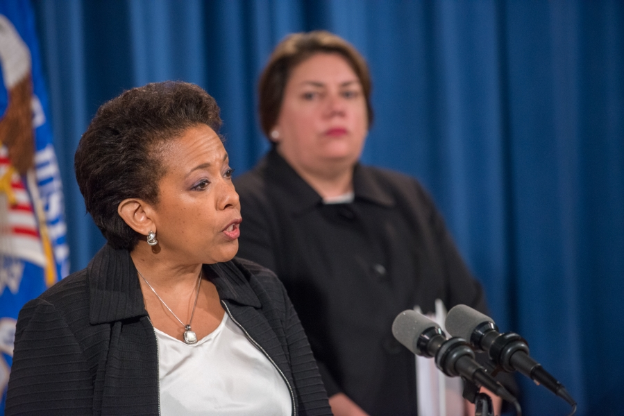 Attorney General Loretta E. Lynch speaks at the press conference on Foreign Exchange Spot Market Manipulation