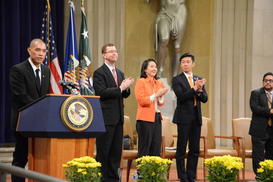 DOJ Pan Asia President Minh T. Dang kicks off the Department's 2015 Asian American and Pacific Islander Heritage Month Program