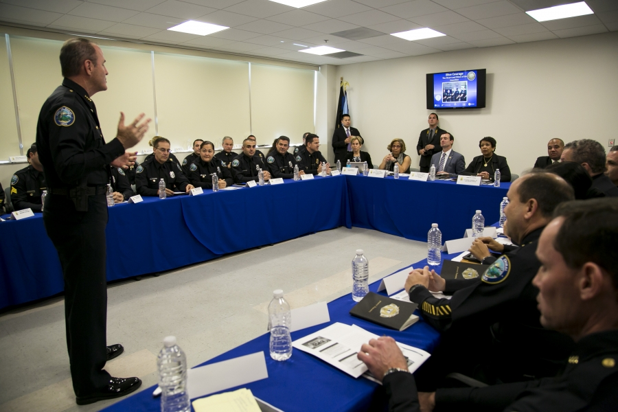 Attorney General Lynch visits the Doral Police Department and recognizes their commitment to community policing strategies