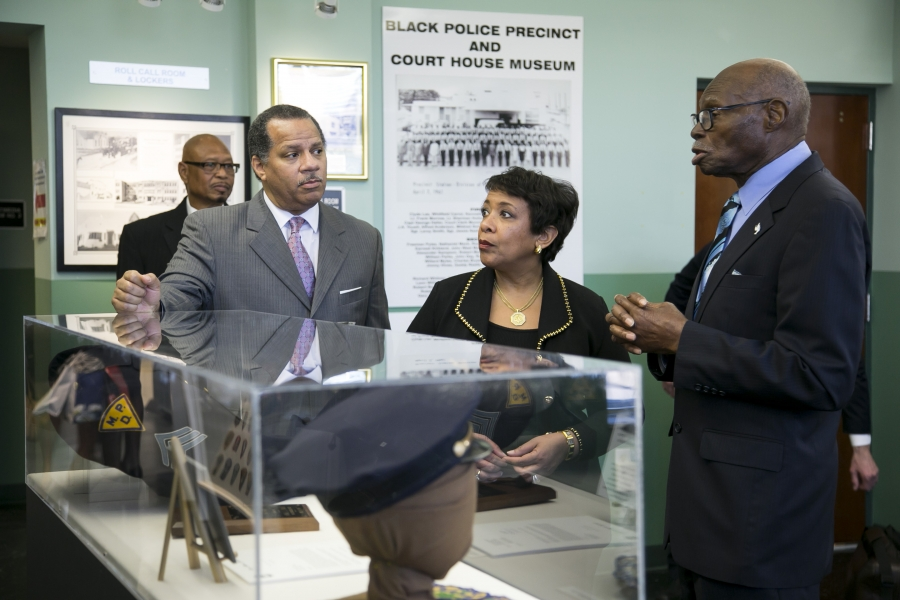 Attorney General Lynch toured the Black Police Precinct & Courthouse Museum with one of Miami's first black police officers,