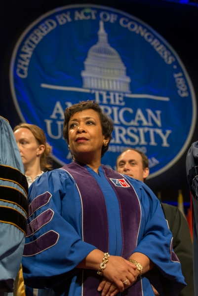 Attorney General Loretta E. Lynch in attendance at the American University College of Law 2016 Spring Commencement.