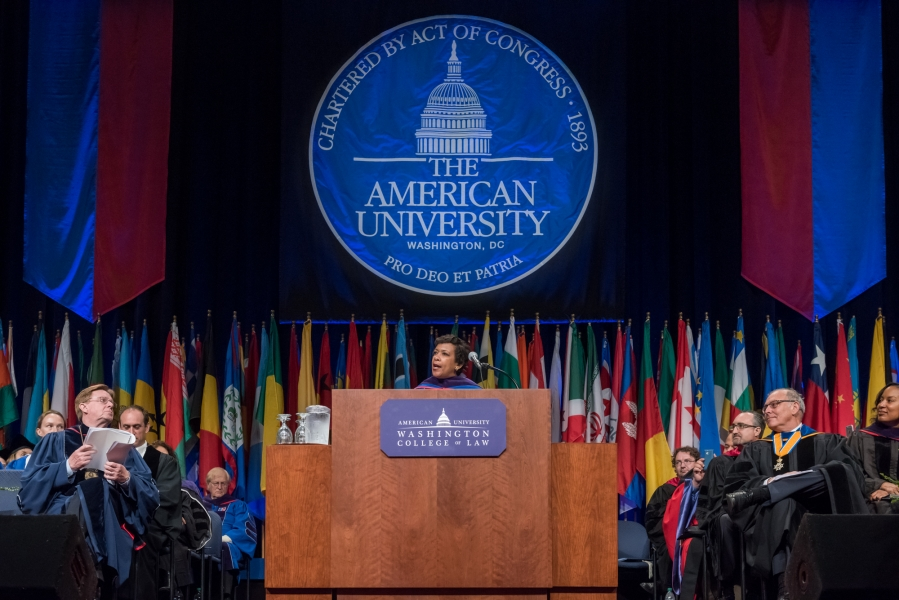 Attorney General Loretta E. Lynch speaking at the American University College of Law 2016 Spring Commencement.