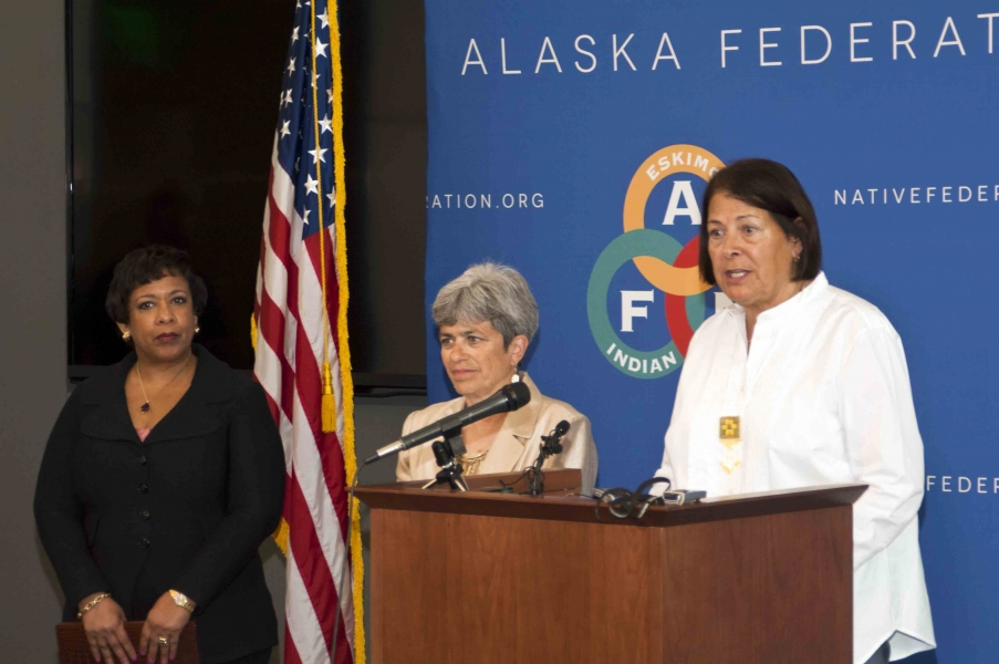 Attorney General Loretta E. Lynch at a media availability with Alaska Federation of Natives (AFN) President Julie Kitka and U.
