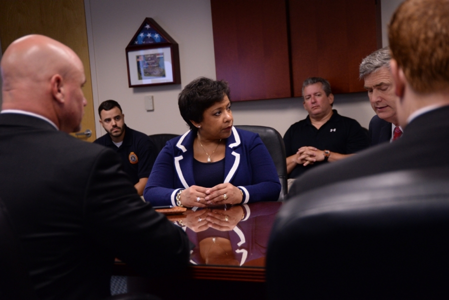 Attorney General Loretta E. Lynch visits the FBI Command Center and attends a Command Post Briefing.