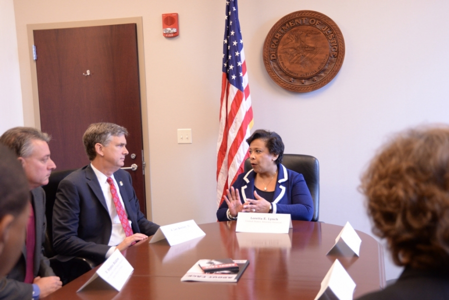 Attorney General Loretta E. Lynch talks with U.S. Attorney A. Lee Bentley III of the Middle District of Florida.