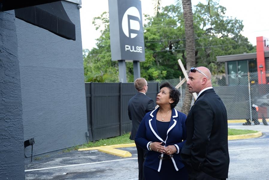Attorney General Loretta E. Lynch is brief on the crime scene at Pulse Night Club.