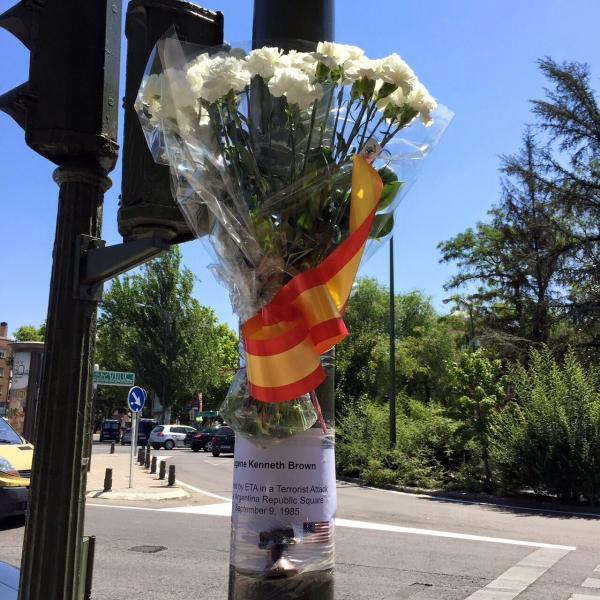 Madrid- Memorial for a U.S. citizen killed by a car bomb in Madrid, Spain.